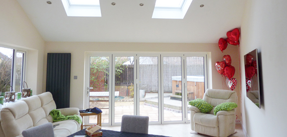 extension with bi fold doors and vaulted ceiling2
